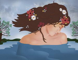 Graceful woman in a lake