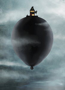 mixed media, photoshop, digital, conceptual,personal piece, balloon, house, drifting, wandering, floating, vanitas, clouds, storm, wind, moody, surreal