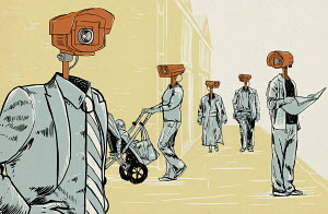 People wearing CCTV cameras as heads