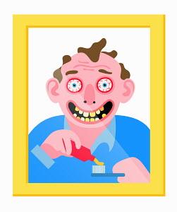 Crazy man in mirror brushing his teeth