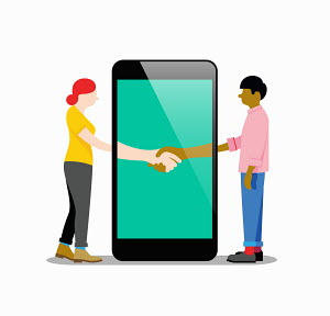 Man and woman shaking hands in smartphone display