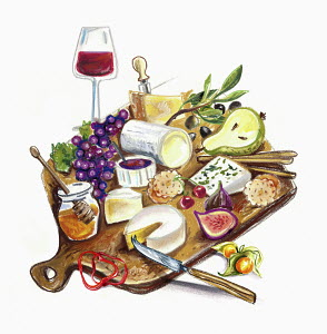 Assortment of fruit and cheese