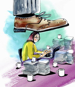 Large foot stepping on woman working at desk