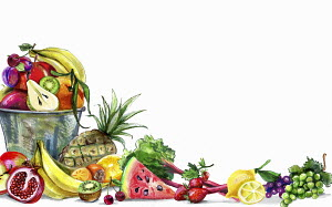 Variation of fresh fruit and white background