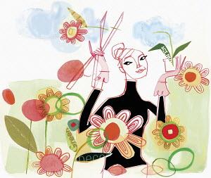 Confident woman gardening