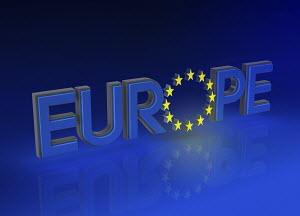 Single word EUROPE with European Union flag