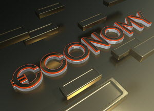 Single word ECONOMY with euro symbol and gold bars