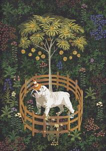 British bulldog as unicorn guarding money tree with fence barrier