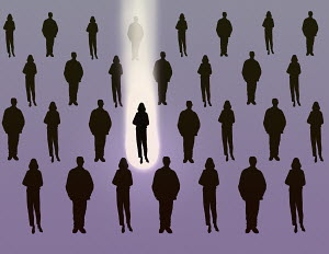 Spotlight choosing woman standing out from the crowd
