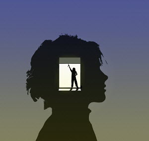 Opening blinds inside of boy's head