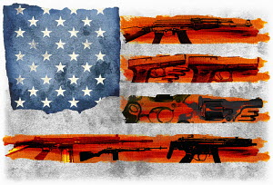 Lots of guns on United States Stars and Stripes flag