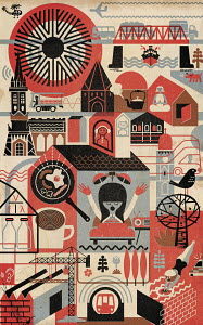 Montage pattern of city life and infrastructure