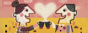 Couple toasting each other with coffee cups and heart shaped steam