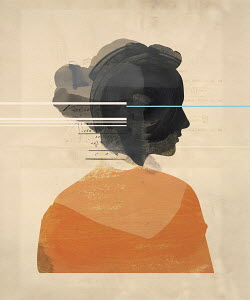 Numbers and equations over profile of woman