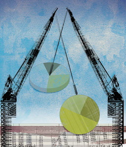 Cranes moving pie charts above finance data