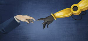 Businessman's hand and robotic arm reaching to touch