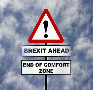 Road sign warning of Brexit problems ahead