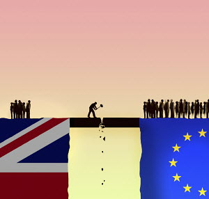 Man destroying the link between the UK and the European Union
