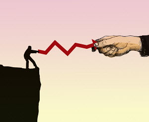 Small businessman in tug of war with large businessman over line graph