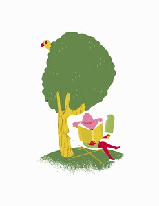 Woman reading under tree eating large ice lolly