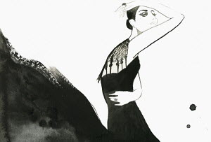 Fashion illustration of woman posing in black evening gown