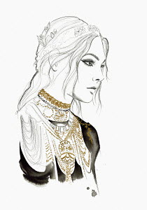 Fashion illustration of young woman wearing lots of gold chokers and necklaces