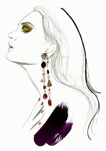 Fashion illustration of beautiful woman stretching head back