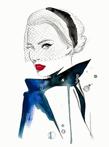 Fashion illustration of beautiful woman wearing hat with veil