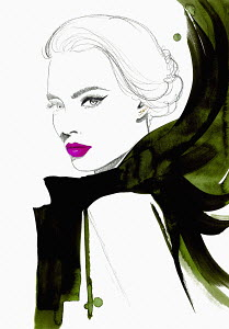 Fashion illustration of beautiful woman wearing flowing scarf