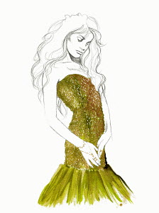Fashion illustration of woman posing in strapless evening gown