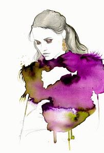 Fashion illustration of beautiful contemplative woman