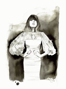 Fashion illustration of woman wearing wide sleeved evening dress