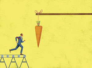 Carrot dangling in front of businessman running on treadmill