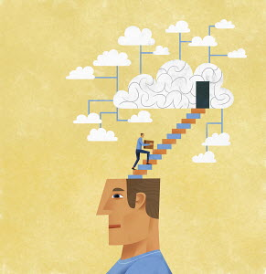 Man organising and storing ideas using cloud computing