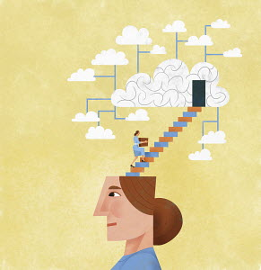 Woman organising and storing ideas using cloud computing