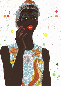 Fashion illustration of woman wearing funky glitter makeup