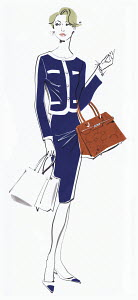 Wealthy woman with shopping bags