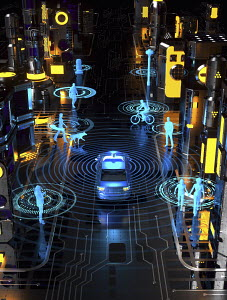 Driverless car in futuristic city street