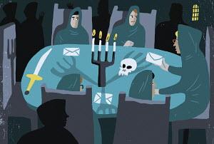 Spooky cult meeting