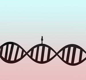 Woman standing on DNA double helix