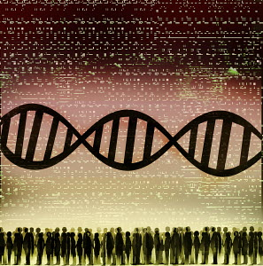 DNA double helix, coding and crowd of people