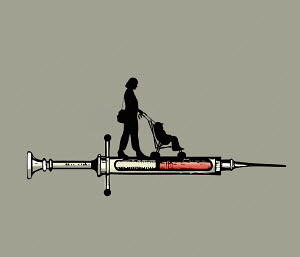 Woman and toddler on top of hypodermic syringe