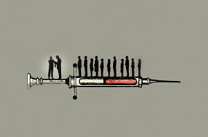 People queuing for vaccination on syringe