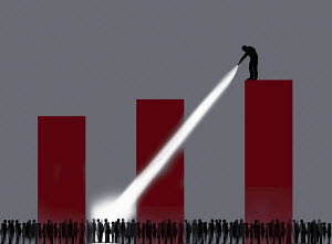 Man shining torch on crowd from top of bar chart