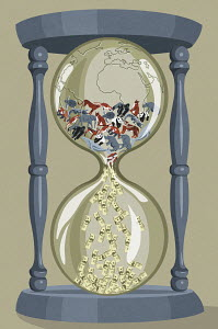 Money from endangered animals in globe hourglass