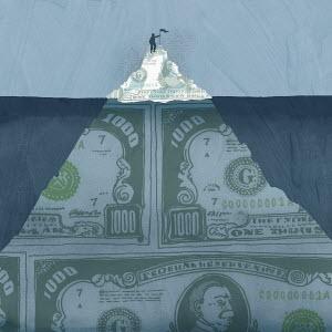 Man placing flag on peak of money iceberg