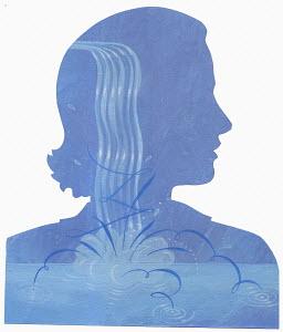 Woman with splashing water inside of head
