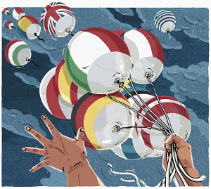 European Union country balloons escaping from bunch