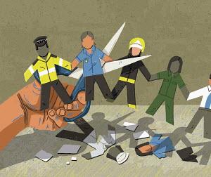 Scissors cutting public sector jobs in paper chain