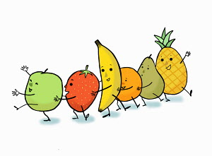 Happy fruit dancing the conga